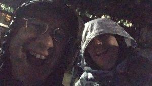 john and eric in the rain