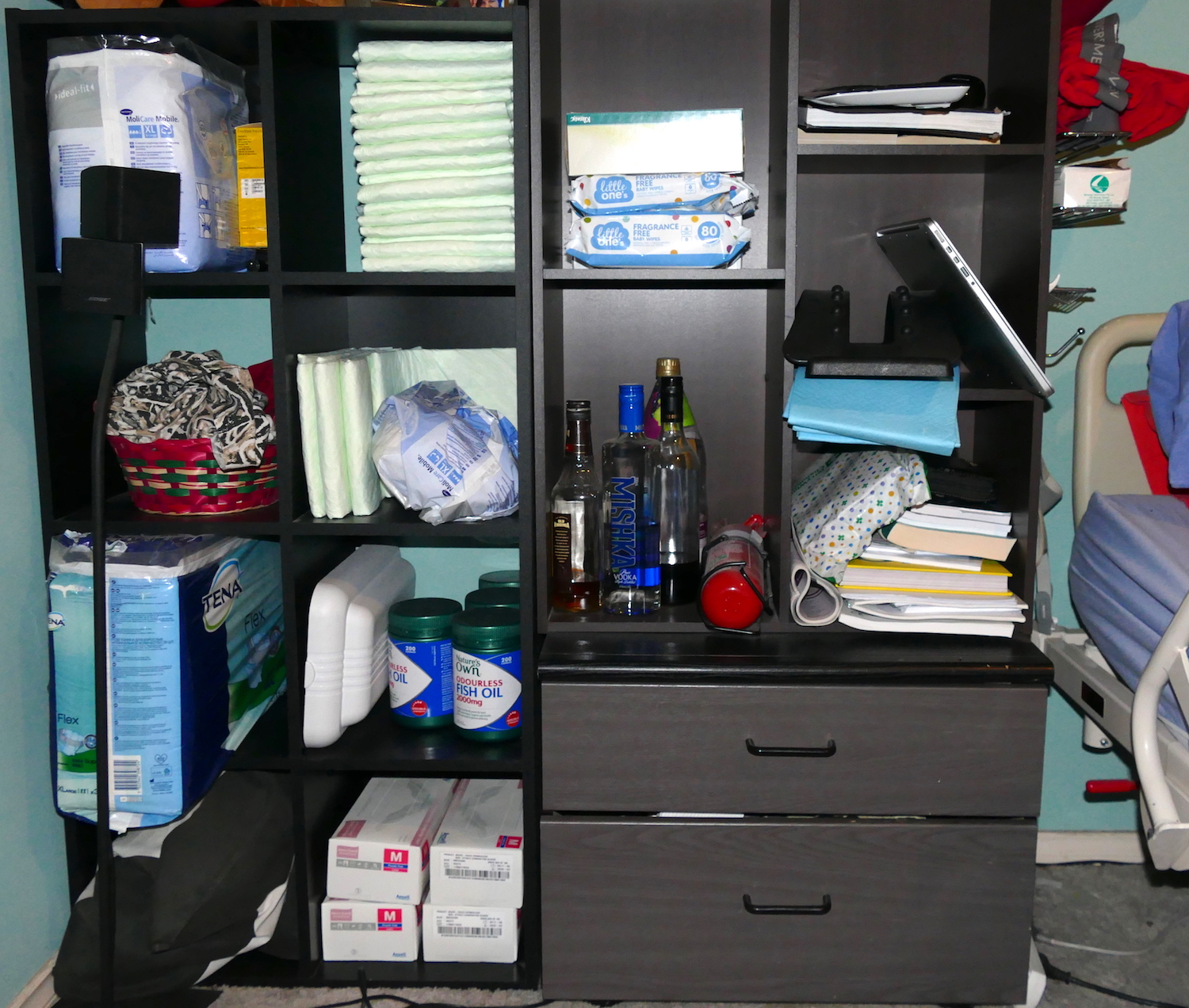 my book shelf on the right hand side - paraplegia sleeping tips