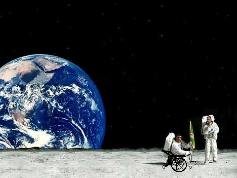 2 astronauts on the moon with the earth in the background. One is in a wheelchair. This ends the story of forgiveness