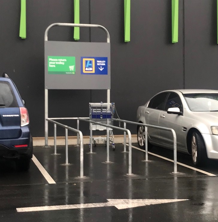 lazy drivers should just return trolleys to this area and there would have been no reason to complain to the Australian Human Rights Commission