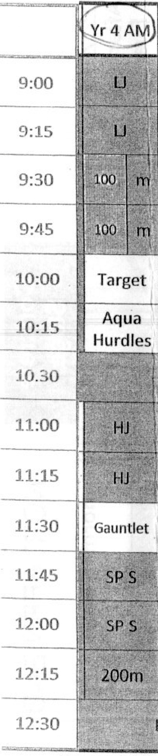 the timetable showing that the gauntlet is on at 1130am from cedar college northgate