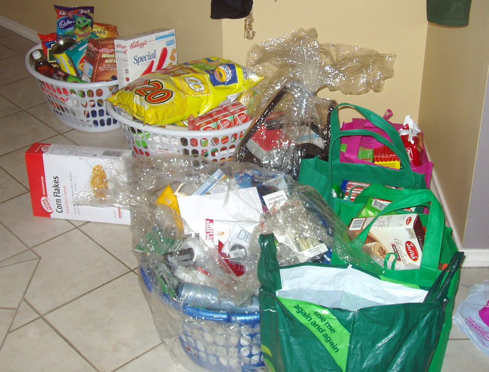 many gift baskets from the school to help the family