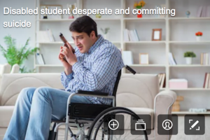disability stock photographs - man in a wheelchair holding gun and maybe about to use it