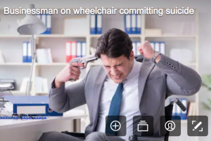 disability stock photographs - man in wheelchair about to fire a gun