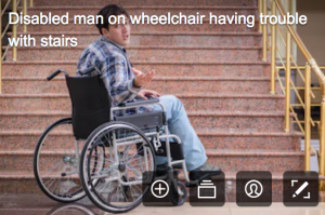 disability stock photographs - man in wheelchair at the bottom of the stairs thinking he can climb he stairs - why?