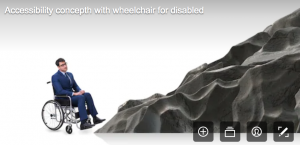 disability stock photographs - man in wheelchair looking up to the mountain