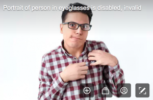disability stock photographs - an actor pretending to have a disability, but I think he is faking it