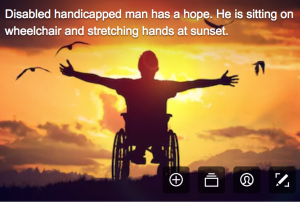 disability stock photographs - a young man in a wheelchair facing the sunset and seems happy