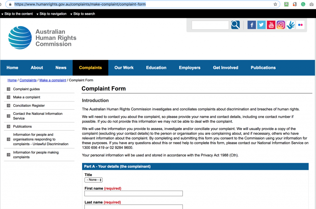 the online complaint form at the Australian Human Rights Commission