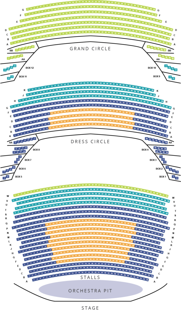 seating plan of the adelaide festival theatre, showing the stalls, and dress and grand circles