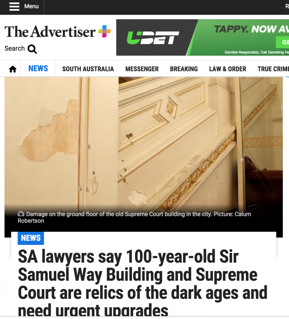 screen shot of newspaper article showing the bad condition of the courts.