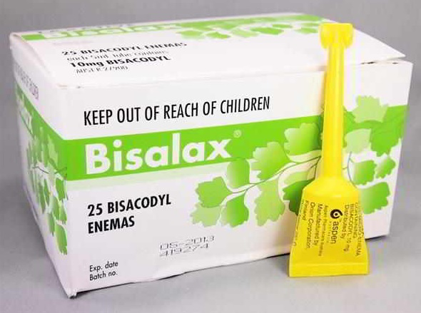 The bisalex container has 25 micro enemas in it, and is a small cardboard box with green and white writing