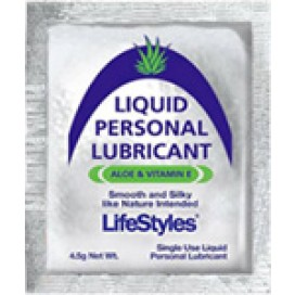 The sachet of personal lubricant is silver in colour and has lots of unimportant things written on it.