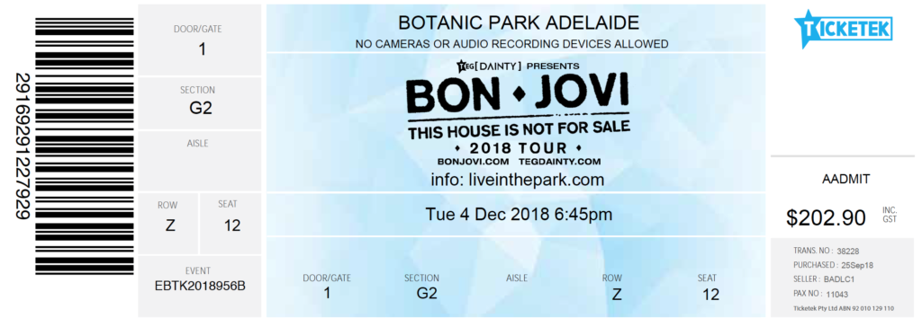 My Bon Jovi ticket from ticketek which included the cost and the seating location - Adelaide Botanic Park accessibility issues