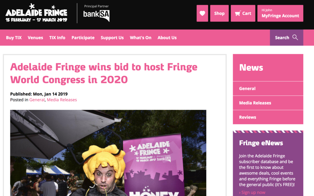 a screen shot of the 2020 fringe world news, nothing really to note