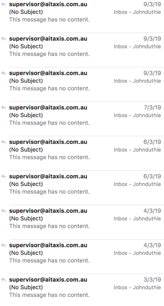 a collection of the stupid emails with no subject and no content that supervisors at AIT were sending me