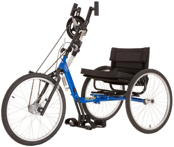 a blue tricycle with hand controls that steer, brake and push the chair along