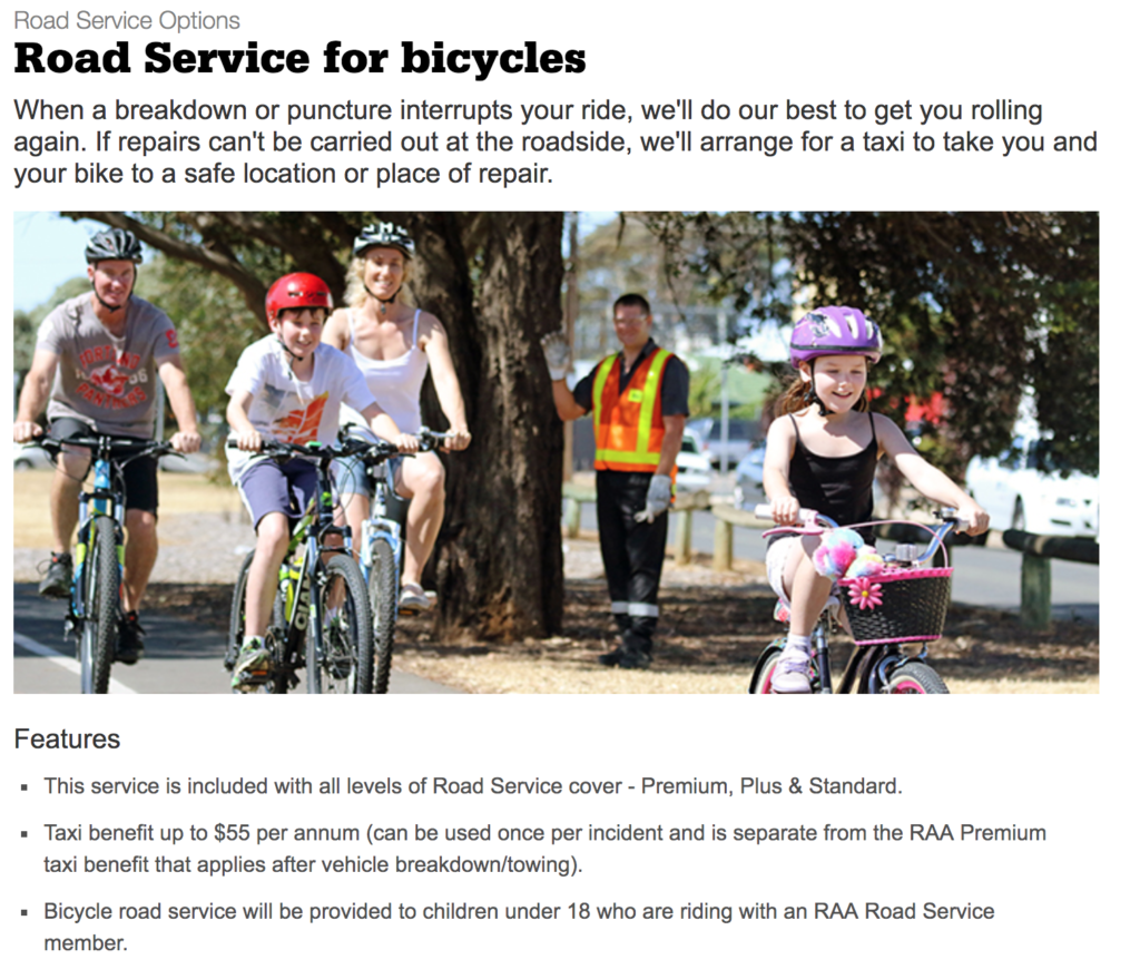 a screen shot of the RAA site that describes the conditions of service for the bike break down service