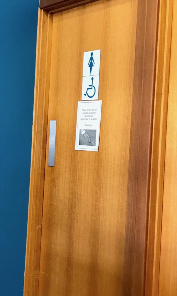 a big and heavy wooden toilet door, with labels showing an image of a woman, and a wheelchair