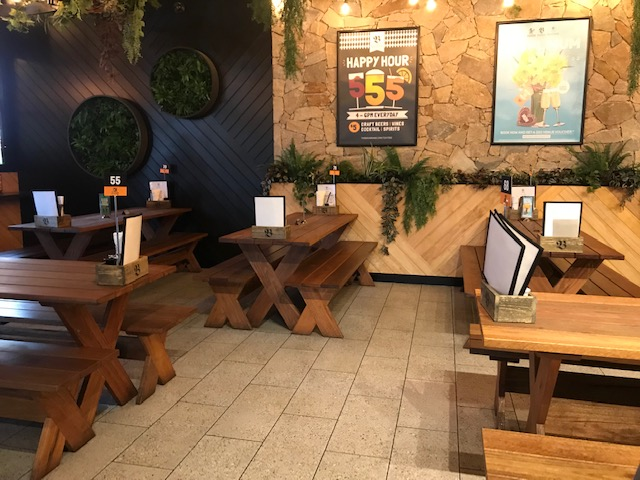 Heavy wooden tables and no where for wheelchair users to sit. When the restaurant is busy there is little room to get around in a wheelchair