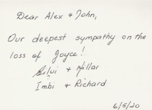 Condolences from imbi and richard