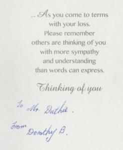 condolences from Dorothy B