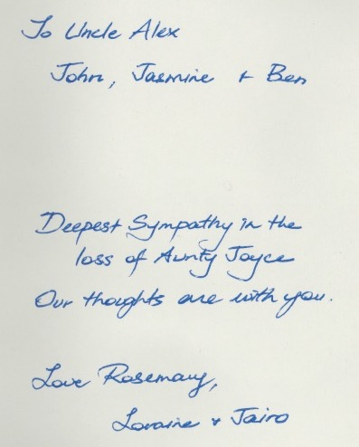 condolences from Rosemary