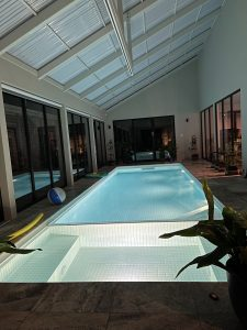 spa and pool in the background, the lifter channel overhead