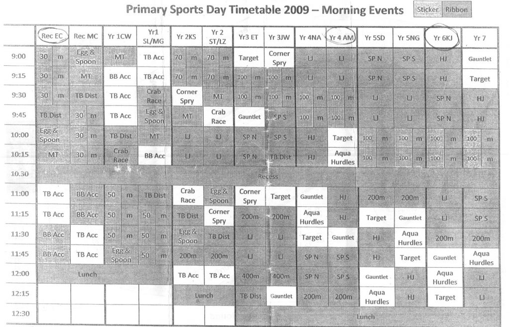 Cedar College sports day timetable showing the 'Gauntlet' at 11:30am for 4