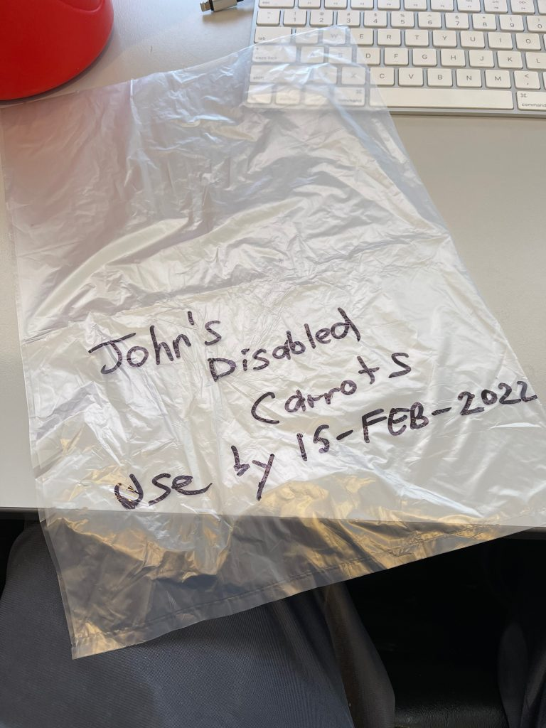 the freezer bag has permanent writing on it - John's disabled carrots used by 10 Feb 2022. freezing carrots cooking
