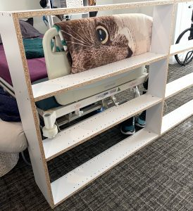 bookshelf is almost completed and needs the backing - Building furniture from a wheelchair